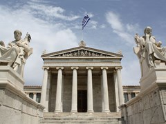 24_Neoclassical-Academy-of-Arts-of-Athens-in-Greece,-showing-main-building-and-statues-of-Plato-and-Athena-(left)-and-Socrates-and-Apollo-(right).