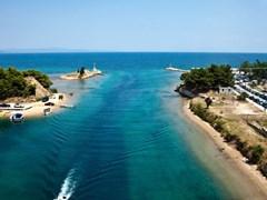 Aerial view of Potidea sea Channel, Chalkidiki, Greece