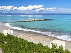 Kallithea summer resort at Kassandra of Halkidiki peninsula in Greece