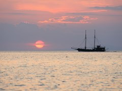 Neos Marmaras - Sailboat during sunset above the sea in Greece
