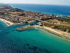 Potidea sea canal in Greece, aerial view