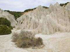Эрозии глины появившийся на острове Закинф, Греция