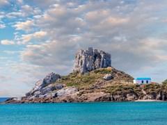 Вид на небольшой остров Кастри вблизи города Кефалос, Остров Кос