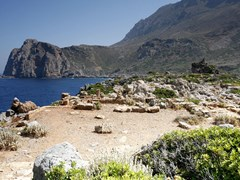 29_The-foundations-of-the-pagan-temple-of-Artemis-or-Apollo-on-the-Acropolis-of-Falasarna,-a-pre-Roman-port-town-in-West-Crete,-Greece,-overlooking-Gramvousa